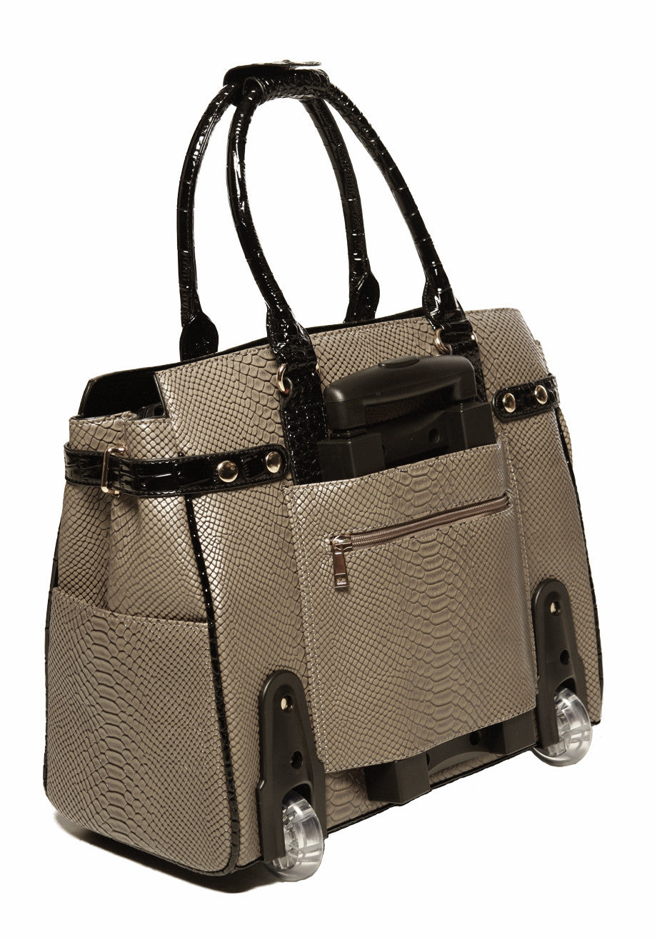 """THE PORTOFINO"" Python and Alligator Rolling iPad, Tablet or Laptop Carryall Bag - JKM and Company - Custom Rolling Handbags"
