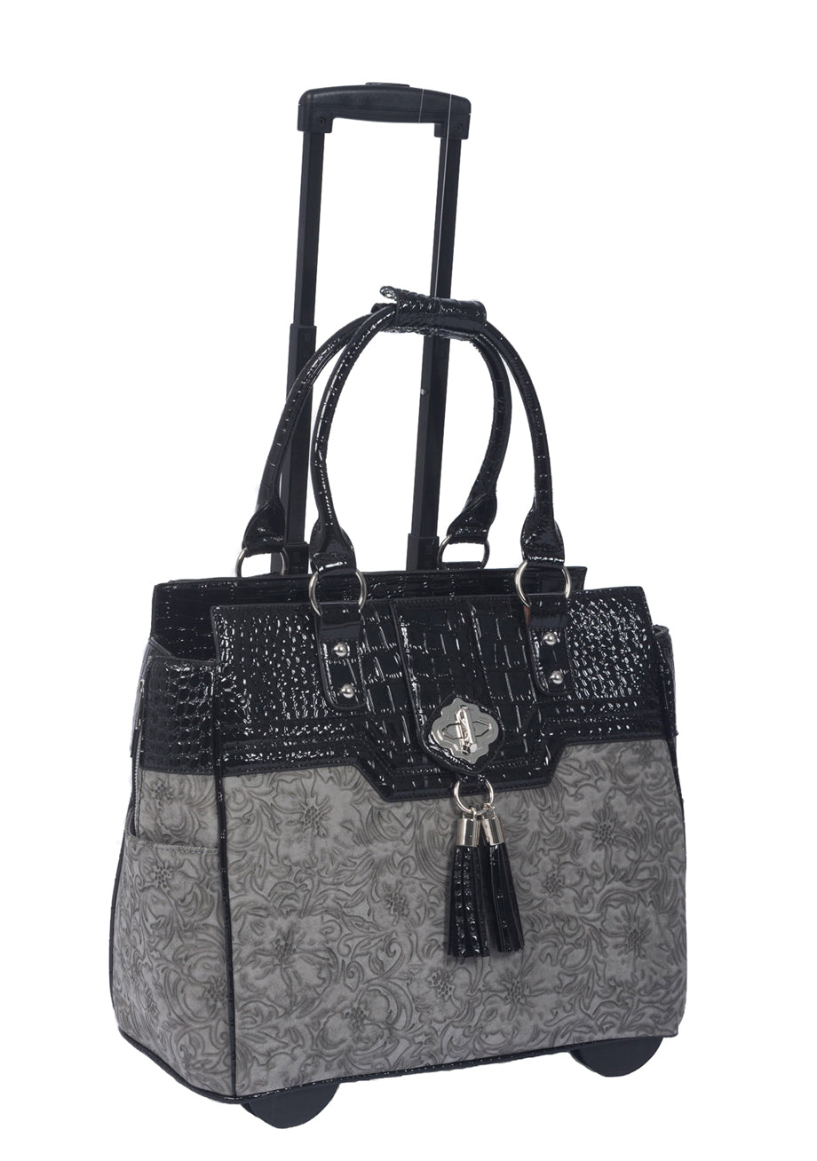 """THE SAVANNAH"" Vintage Style Grey & Black Rolling 16"" Laptop Carryall Trolley Bag - JKM and Company - Custom Rolling Handbags"