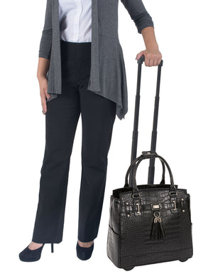 """THE TIMELESS"" Black Alligator Rolling iPad, Tablet or Laptop Tote Carryall Bag"