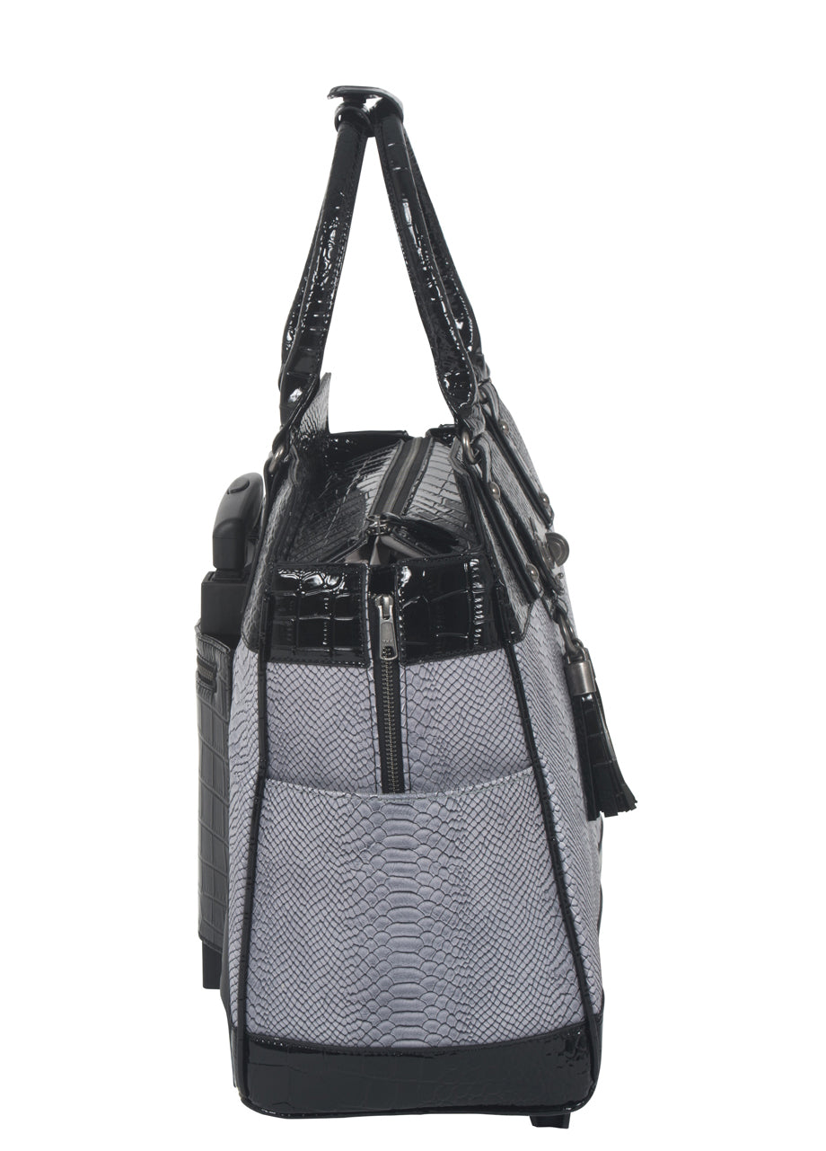 """THE VERONA"" Python and Alligator Rolling Laptop Tote Holdall Weekender Bag"