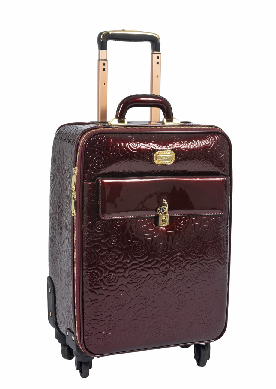 Burgundy Embossed Patent 3 Piece Luggage Set with Spinner Wheels