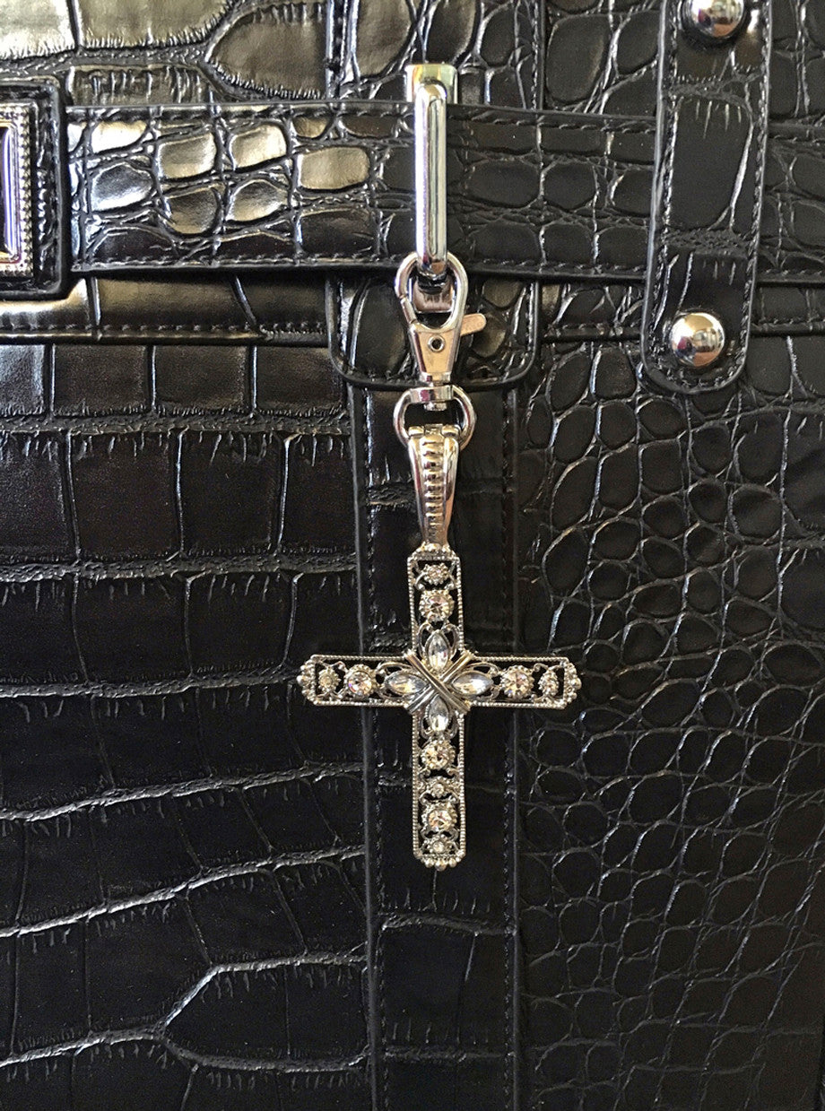 Silver Cross Rhinestone Purse/Trolley Bag Charm - JKM and Company - Custom Rolling Handbags