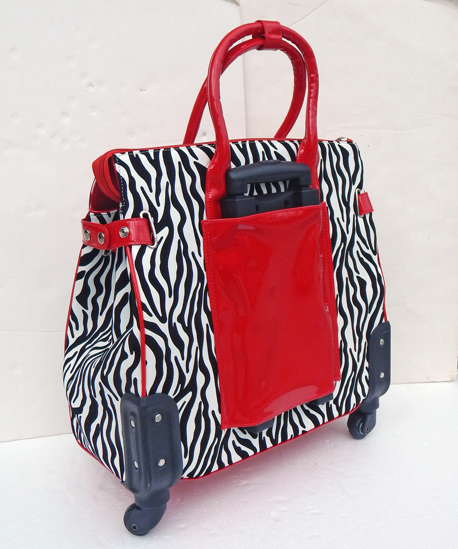 Zebra Rolling Laptop Weekender Duffle Bag -- With Spinner Wheels! - JKM and Company - Custom Rolling Handbags