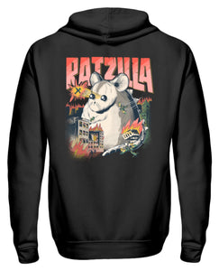RATZILLA | Lustiges Farbratten-Monster | Zipper Hoodie in Black in Größe S