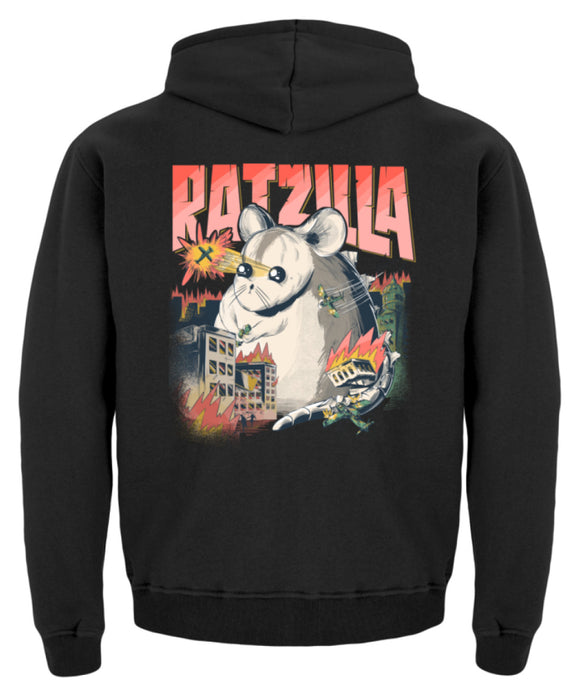 RATZILLA | Lustiges Farbratten-Monster | Kinder Hoodie in Jet Black in Größe 12/14 (152/164)