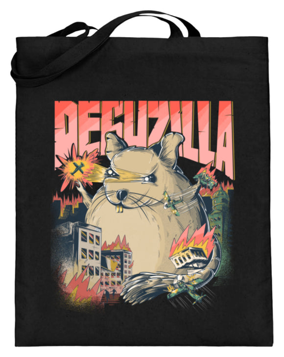 DEGUZILLA | Lustiges Degu-Monster | Jutebeutel in Black in Größe 38cm-42cm
