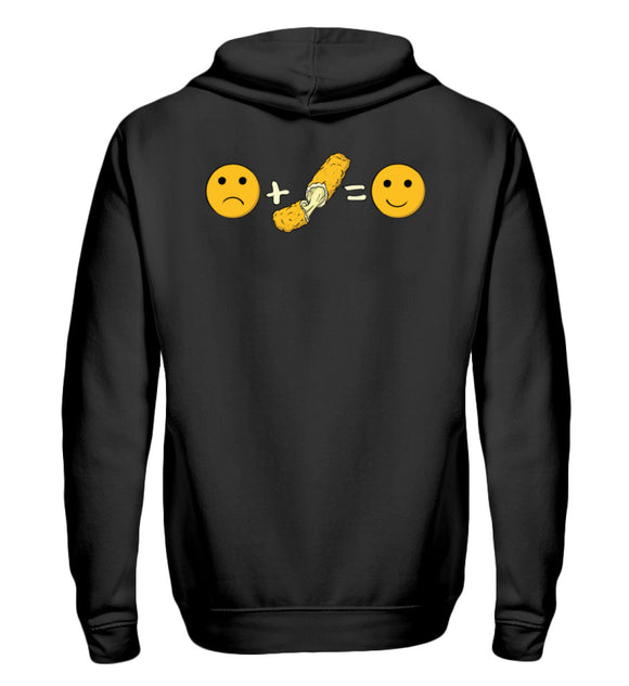 Funny Mozzarella Emotions | Zipper Hoodie in Black in Größe S