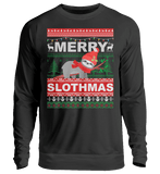 Zeigt merry slothmas sloth saying unisex pullover in Farbe Jet Black
