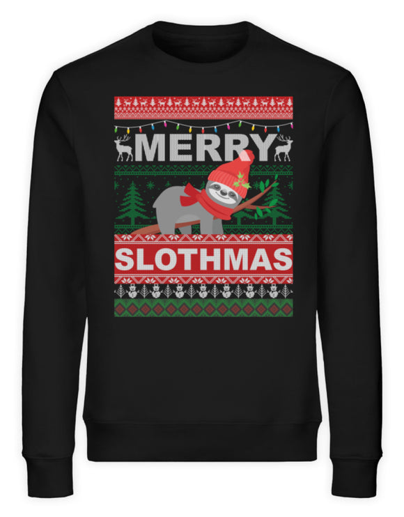 Merry Slothmas Sloth Saying | Unisex Organic Sweatshirt in Black in Größe S