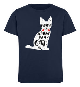 Home Is Where My Cat Is | Kinder Bio T-Shirt in French Navy in Größe 12/14 (152/164)