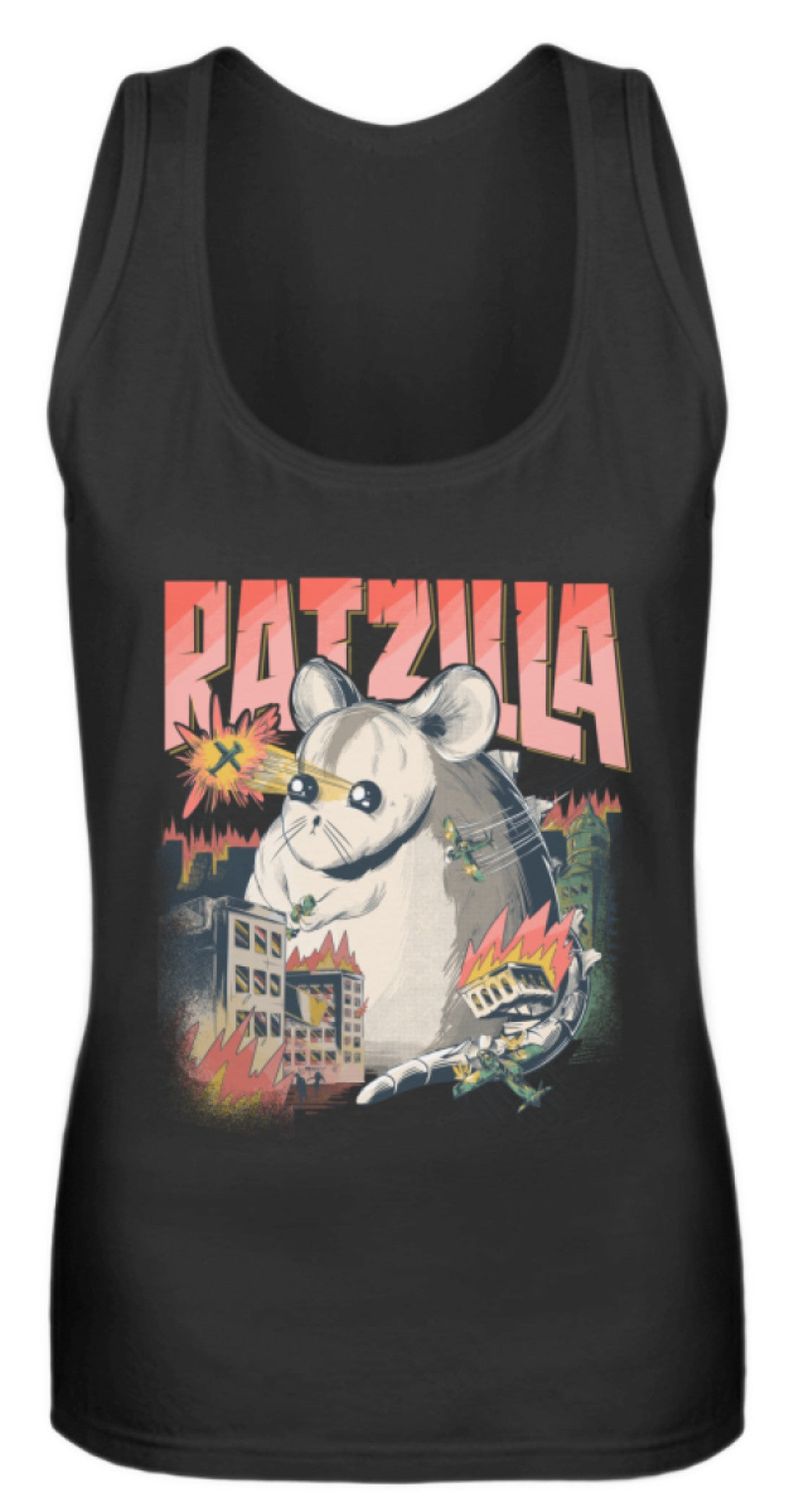 RATZILLA | Lustiges Farbratten-Monster | Frauen Tank Top in Black in Größe S