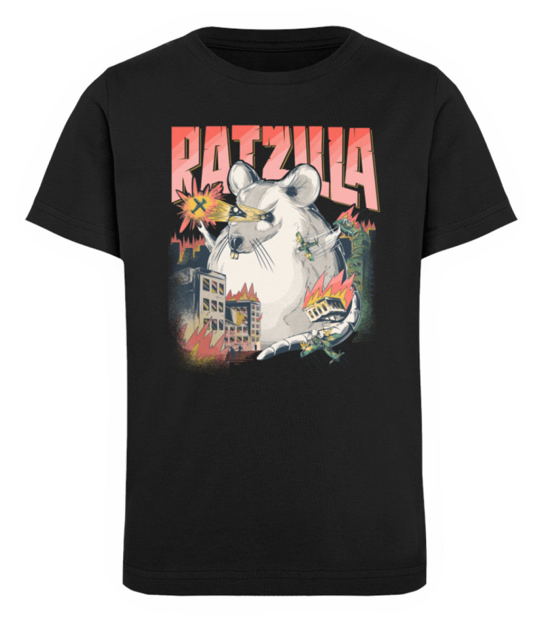 RATZILLA | Freches Ratten Monster | Kinder Bio T-Shirt in Black in Größe 12/14 (152/164)