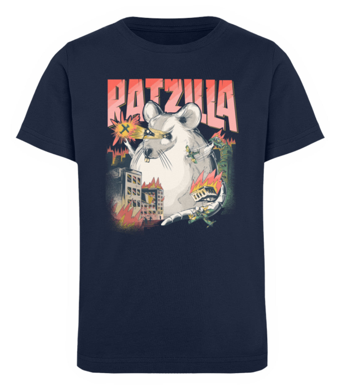 Zeigt ratzilla lustiges ratten monster kinder organic t shirt in Farbe Black