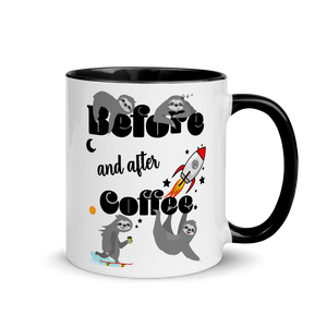 Before & After Coffee | Zweifarbige Tasse Lustiger Spruch