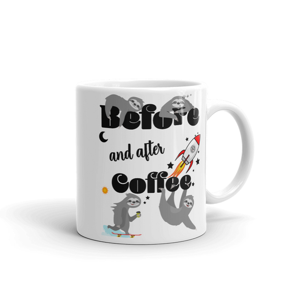 Before & After Coffee | Tasse Lustiger Spruch