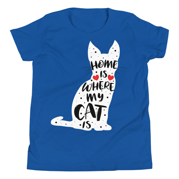 Zeigt ein T-Shirt für Kids und Teenager mit Home Is Where My Cat Is | T-Shirt für Kinder & Jugendliche