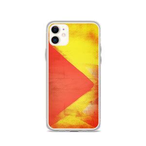 Zeigt Produktbild  Iphone Case | Halftone Pattern with red/orange Triangle | Yellow Smartphone Protection Case | Abstract Art & Geometry | Mobile Back Cover