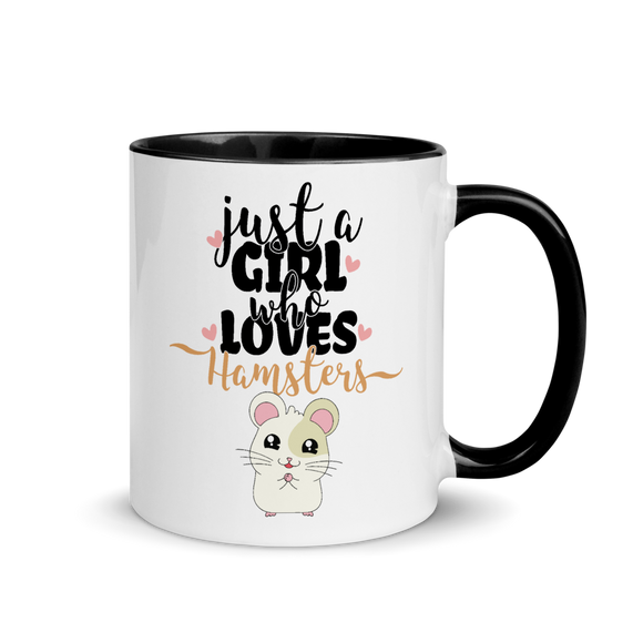 Just A Girl Who Loves Hamsters | Tasse mit farbiger Innenseite Kaffeebecher online kaufen - jimbeels.store