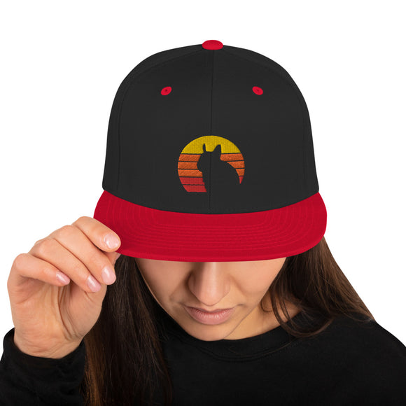 Degu Vintage Sun | Retro Octodon Degus Sunset | Snapback Hat in Black/ Red in Größe