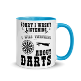 Sorry I wasn't listening Darts | Zweifarbige Tasse