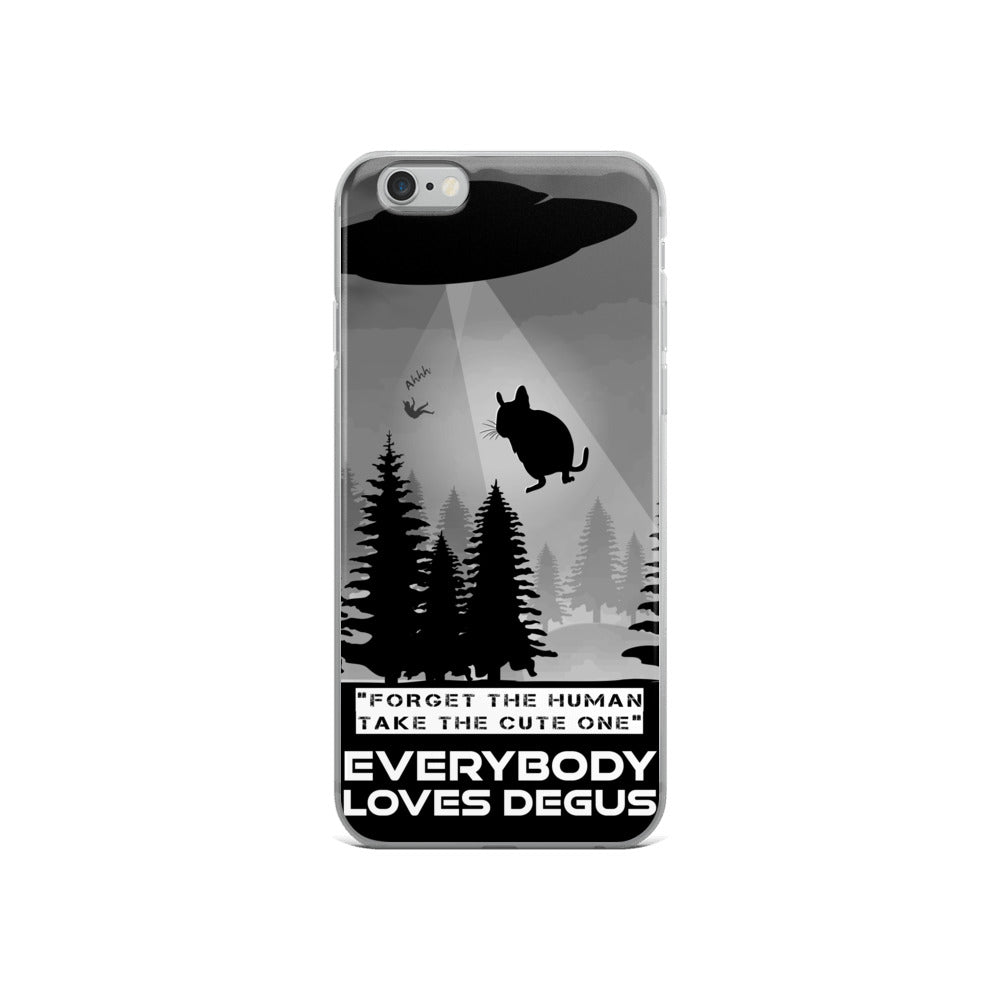 Zeigt Produktbild  DEGUS | Funny UFO Alien Abduction | iPhone Case | Homouros Saying | Perfect Gift For Degu Holders and Owners