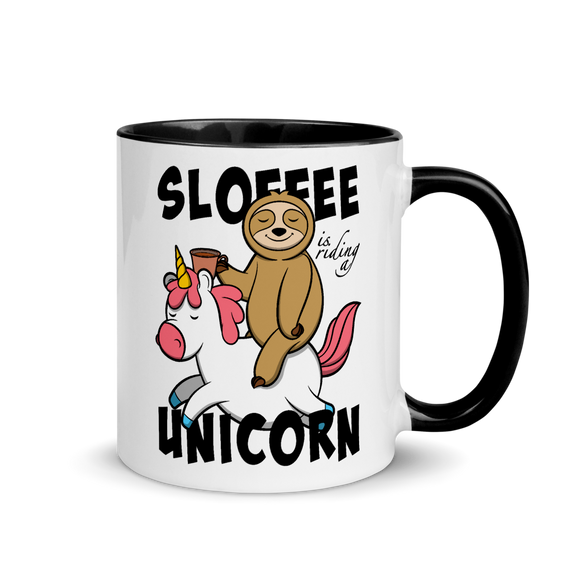 Sloffee Is Riding a Unicorn | Zweifarbige Tasse Lustiger Spruch