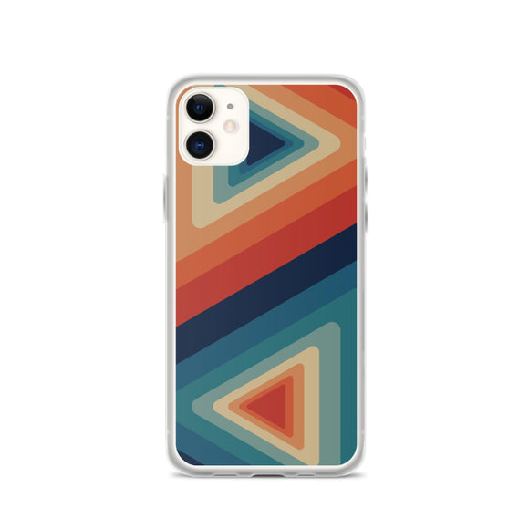 Zeigt Produktbild  Vintage & Retro 70s Style | Color Triangle Stripes | iPhone Case | Gift For Retro and Vintage Fans | Smartphone Protection