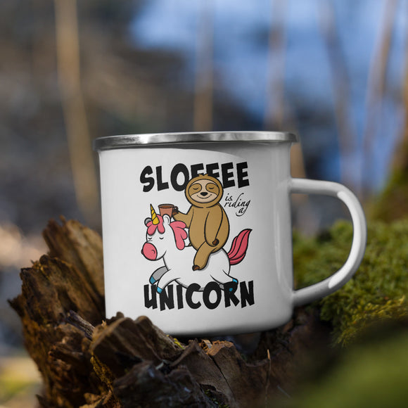 Sloffee Is Riding a Unicorn | Emaille Tasse Lustiger Spruch