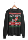 Merry Slothmas | Ugly Christmas Sweater | Mit Faultier | Unisex Pullover in Jet Black in Größe S