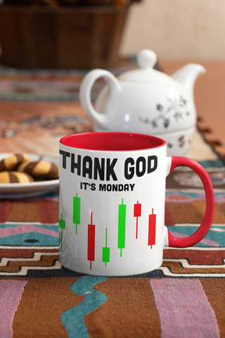 Thank God It's Monday zweifarbige Kaffeetasse für Day Trader