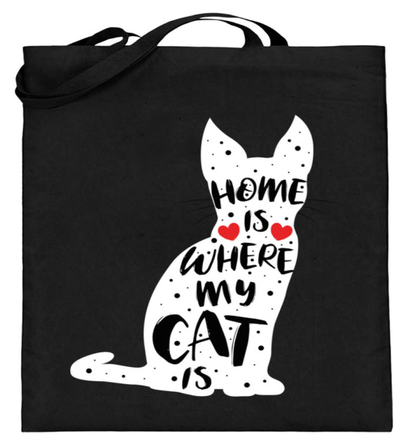 Home Is Where My Cat Is | Jutebeutel (mit langen Henkeln) in Black in Größe 38cm-42cm