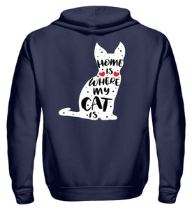Home Is Where My Cat Is | Zipper Hoodie in Navy in Größe S