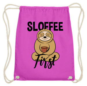 Sloffee First | For Sloth And Coffee Fan | Turnbeutel in Fuchsia in Größe 37cm-46cm