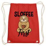 Zeigt sloffee first for sloth and coffee fan baumwoll gymsac in Farbe Himmel-Blau