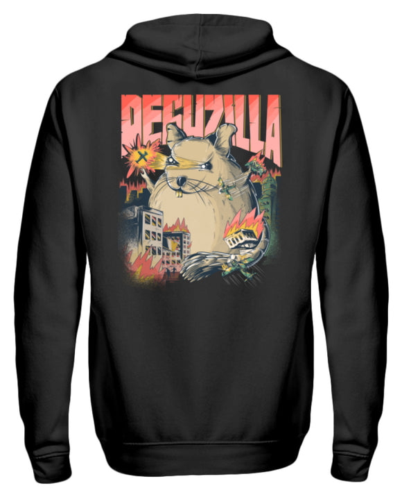DEGUZILLA | Lustiges Degu-Monster | Zipper Hoodie in Black in Größe S