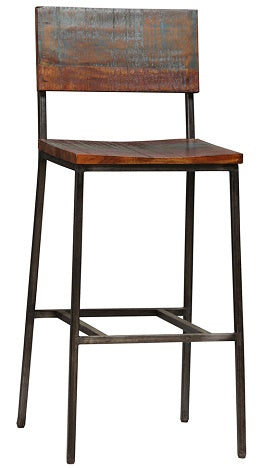 "Reclaimed Wood and Steel Bar Height Stool 30"" Seat Height"