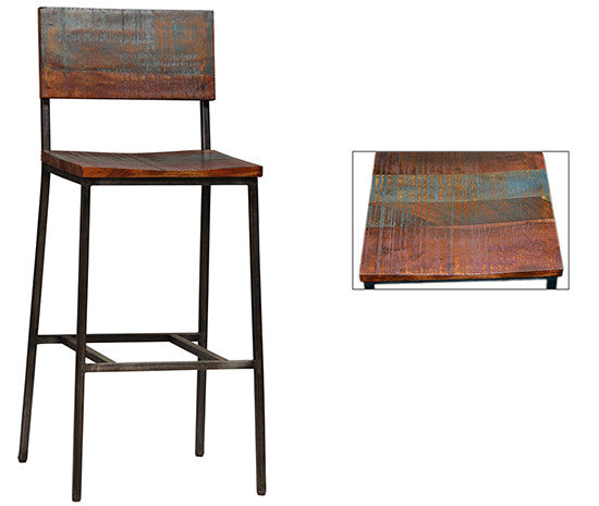 "Reclaimed Wood and Steel Stool 30"" Seat Height"
