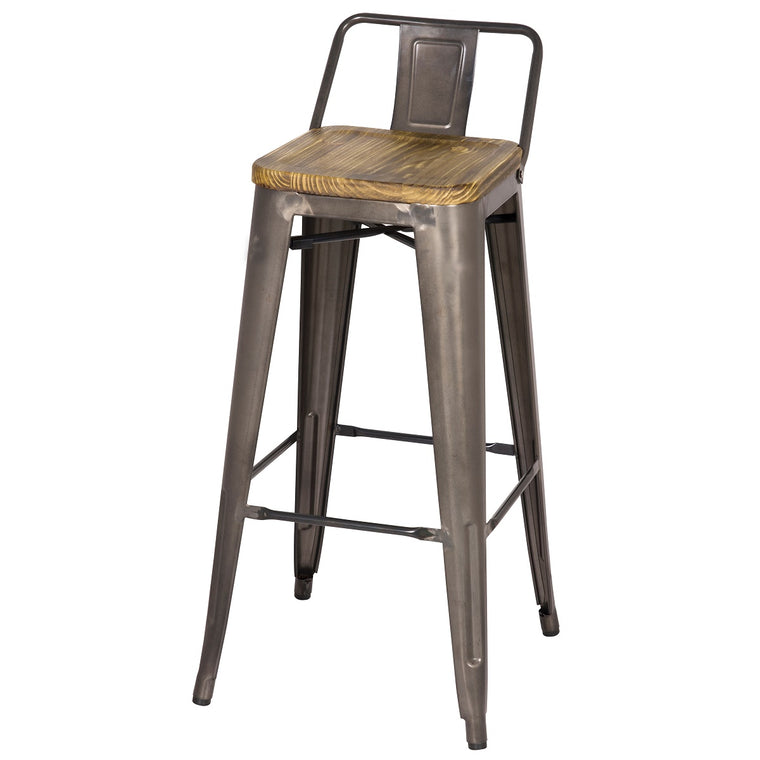 "Industrial Metal Stool/Wood Seat - Bar Height 30"" Seat Height"