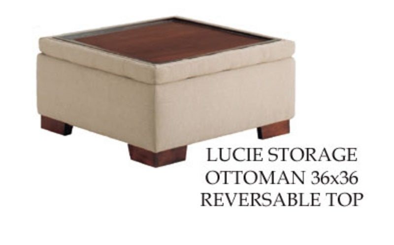 "Lucie Storage Ottoman with Reversible Top 36""w x 36""d x 19""h"