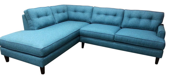 "102"" Olivia Sectional w/ Bumper Chaise, Down fill Seats"