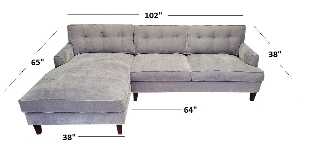 "102"" Olivia Sectional w/Down Fill seats"