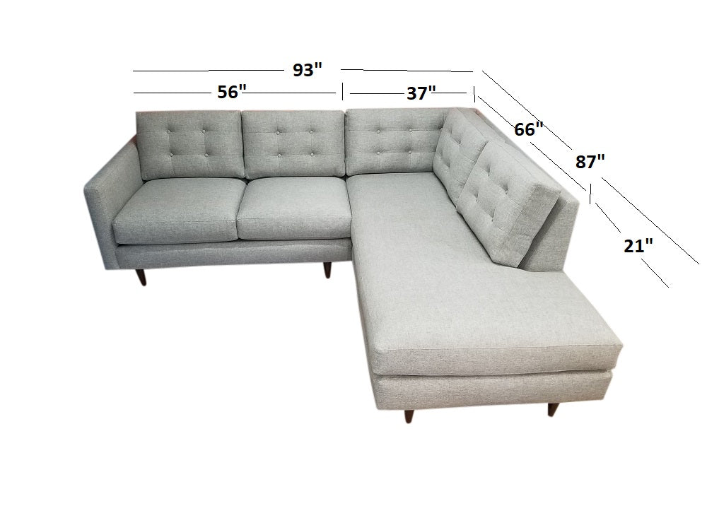 "San Diego 2pc Sectional w/Bumper Chaise 93"" x 88"""