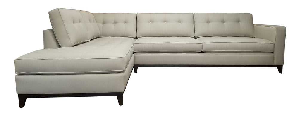"Nixon 2PC Sectional w/Bumper Chaise and Wood Base 122"" x 88"""