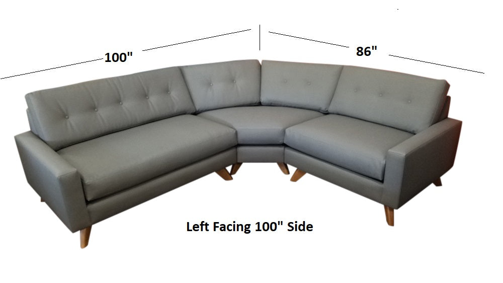 "Venice Curved 3PC Sectional 100"" x 86"""