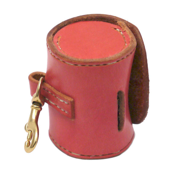 Leather Poop Bag Holder Salmon