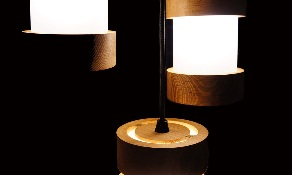 Jojo lamps are contemporary designer wooden pendant lights and lamps.