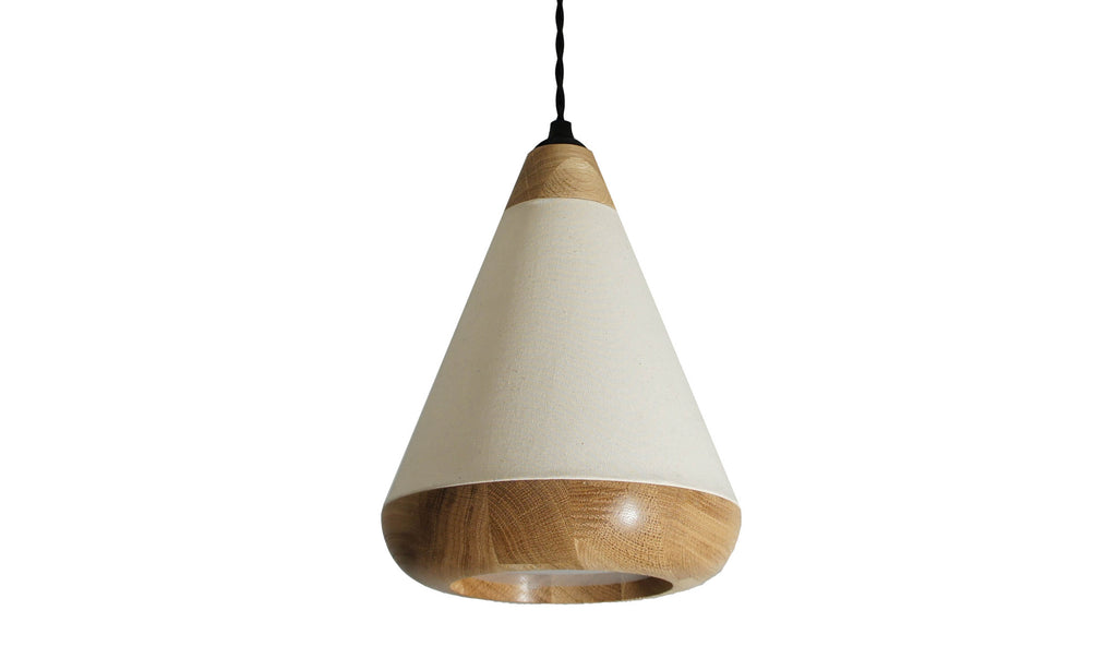 FabLamp. Fabric lamps with Oak wood. Designer pendant lights with fabric sides