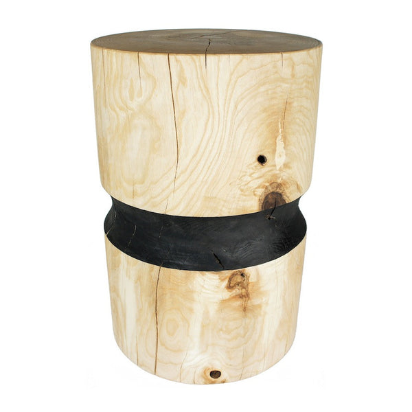 Ash wooden side table or wooden stool black band