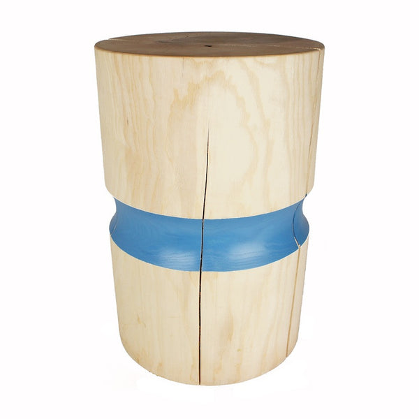 Ash wooden side table or wooden stool blue band colour
