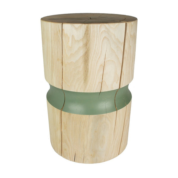 Ash wooden side table or wooden stool with green band
